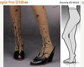 SALE25%off/// small/medium fabulous Forest Symphony tattoo stockings / full length / pantyhose / nylons CAFE LATTE