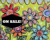 SALE PRICED! Original Mini Mixed-Media Darling Tiny Garden Series #14 Folk Art Floral Painting