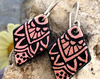 SMALL Mandala Hand Etched Dichroic Earrings Fused Glass & Sterling Silver Handmade Wires SALMON PINK