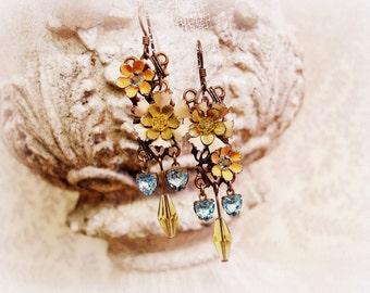 cut velvet one of a kind vintage assemblage earrings enamel flowers czech rhinestones swarovski crystals aquamarine olive marigold earrings