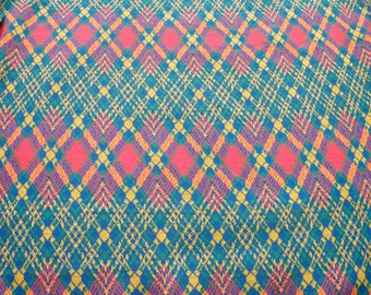 Vintage punk rock tartan knit, Green , yellow, royal blue, red Argyle pattern diamonds