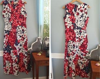 Vintage Floral Maxi Dress S M