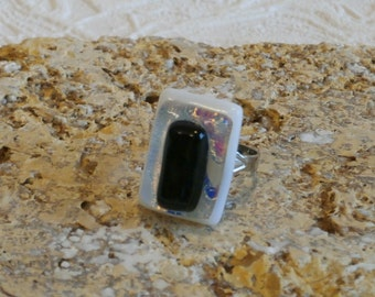 White and Black Fused Dichroic Glass Adjustable Ring