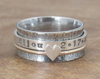 Rustic Gold Spinner Ring Personalized Ring Sterling Silver Jewelry Hand Stamped Ring