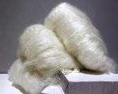 """White fiber art batt, felting wool, white spinning fiber roving """"Pegasus"""" PHAT FIBER Mythology theme: cream snow white off white ecru ivory"""