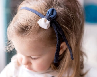 Bon Ton Bow Headband - Blue Jeans & White Jeans-