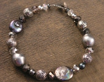 SALE 50% off Shades of gray freshwater pearls, silver, crystal glass and vintage bead handmade bracelet