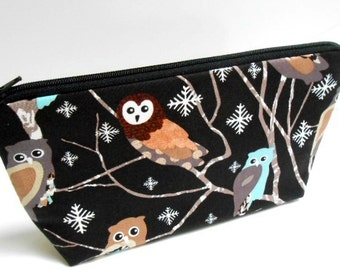 Owls Flat Bottom Cosmetic Bag Zipper Pouch ECO Friendly Padded NEW Shades of Owls in Black