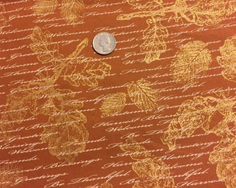 AUTUMN LEAF Fabric - Gold Etched Thanksgiving Fall Leaves & Sentiments