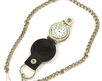 Industrial Pocket Watch on Heavy Chain / Vintage 1990s Large Watch on Leather Case with Belt Loop and Detachable Chain