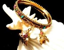Bohemian Bangle, Jeweled Beaded Bangle Bracelet, Vintage Bohemian Bracelet, 1970 Boho Bracelet, Gift For Her
