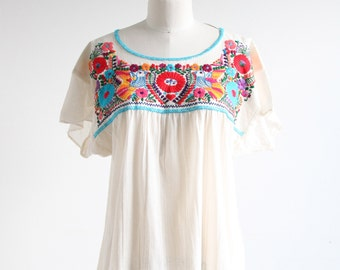 Vintage Colorful Embroidered Gauze Top