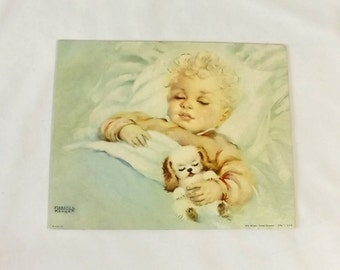 Florence Kroger Litho, Sweet Dreamer, Vintage Baby Art Lithograph Print, 8 x 10 Nursery Room Decor
