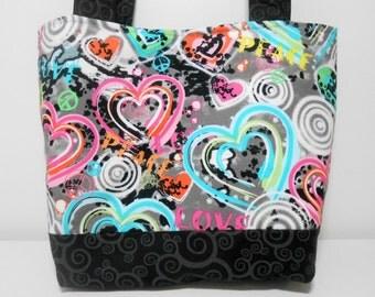 Graffiti Tote Bag, Grunge Heart Medium Tote Bag, Purse with Pockets