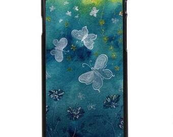 """Phone Case """"Night Dance"""" - Watercolor Giclee Art Print Butterflies Dancing Garden Evening Blue By Olga Cuttell"""