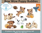 8 Piece Bow Wow Puppy Buddies, Sport, All Star, Baby Boy. Dogs Clip Art. PNG and JPG files