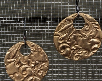 Bronze Earrings with Floral Pattern
