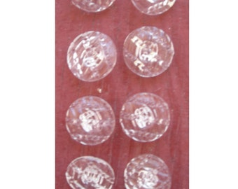 Set of Vintage Clear Glass  Buttons