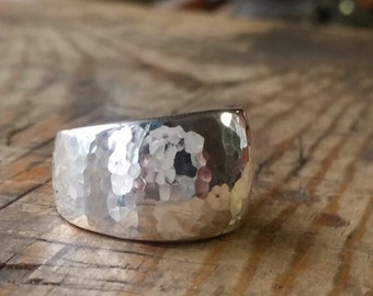 Hand carved sterling dome ring