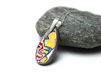 Detroit Fordite Necklace Recycled Vintage Auto Paint Red Blue Yellow Swirls Faux Bois Small Petite Medallion Sterling Upcycled Bullseye Hot