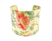 Bracelet Cuff, Cuff Bracelet, Wide Bracelet Cuff, Decoupage Cuff, Decoupage Jewelry, Wearable Art, Pink Floral Jewelry, Flower Bracelet
