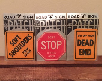Vintage new stock road sign sew on patches