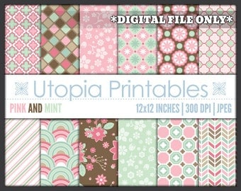 Pink And Mint Green Digital Paper Pack Set Digiscrap Background Pattern Design Brown White Printable Commercial Use