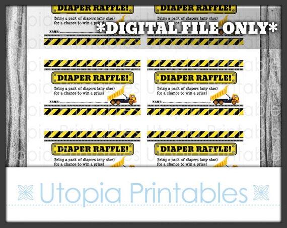 construction diaper raffle ticket card insert baby shower dump truck