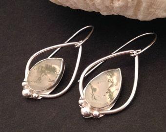 Green Moss Agate Earrings, Artisan Metalsmith Sterling Silver Dangle Earrings Handcrafted Silversmith Bohemian Boho Chic Stone Earrings