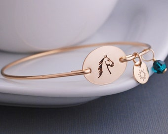 Horse Bangle Bracelet, Custom Horse Jewelry, Gold Personalized Equestrian Jewelry, Horse Bracelet, Jockey Gift