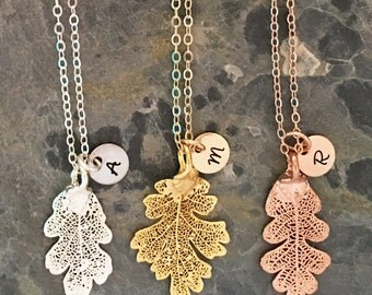 Personalized Real Leaf Necklace, Woodland Jewelry, Personalized Fall Necklace, Fall Leaf Jewelry Rose Gold