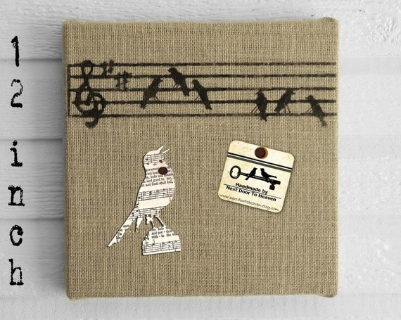 SongBirds -  Burlap covered Cork Message Board 12 inch
