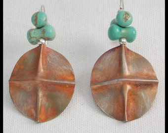 MYA - Handforged Foldformed Flamed Copper & Turquoise Magnasite Exotic Statement Earrings