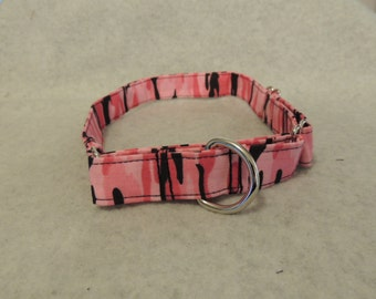 """Large Dog Martingale Collar 1"""" Wide 18-25"""" Pink Camo"""