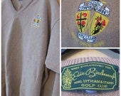 Royal Lytham Golf Club EDDIE BIRCHENOUGH Insignia Patch 1996 British Open Tan V Neck Pullover Sweater