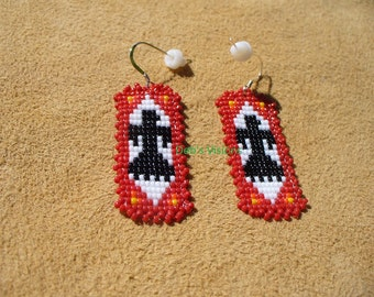 Native American Style Square stitch beaded Thunderbird earrings in Red
