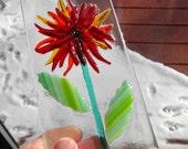 Fused Glass Flower Sun Catcher, Red Fused Glass Flower, Blue Fused Glass Flower, Summer Sun Catcher, Garden Art
