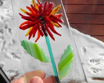 Fused Glass Flower Sun Catcher, Red Fused Glass Flower, Blue Fused Glass Flower, Summer Sun Catcher, Garden Art