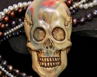 Swirled Skull Skeleton Head Face CAB Beige with swirls of color Polymer Clay by sculptedwindows