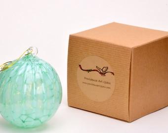 Hand Blown Art Glass Christmas Ball Suncatcher Ornament by Rebecca Zhukov