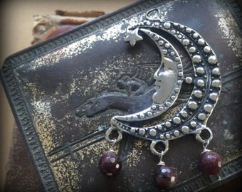 Blood Moon Pewter and Garnet Pendant