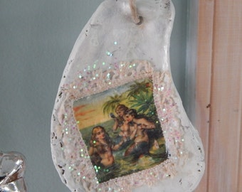 50% off Mermaid Oyster Shell Ornament/holiday/summer/wedding