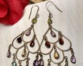 SALE TODAY Vintage Burlesque Super Long Sterling Silver Chandelier Multi Gem Stone Earrings Peridot Amethyst Garnet Citrine Blue Topaz