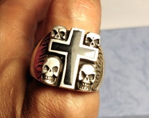 Giant Vintage Biker Sterling Silver 925 Skull Black Onyx Inlay Cross Ring Large Size 15 Day of the Dead