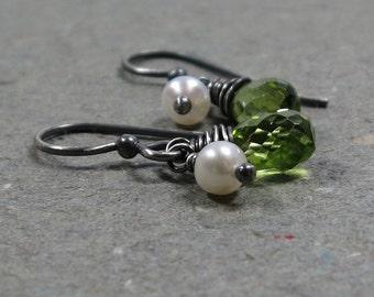 Peridot Earrings White Pearl Earrings June August Birthstone Oxidized Sterling Silver Earrings Gift for Wife