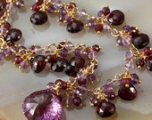 NEW ITEM - 20% OFF Alexandrite, Garnet & Amethyst Necklace - Cluster - Charm - Dangle