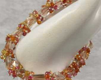 RESERVED - Gemstone Bangle Bracelet- Oregon Sunstone, Songea Sapphire, Imperial Topaz