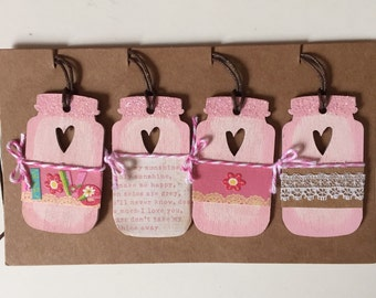 Adorable Little Love Canning Jars Glittery and Sweet You are my Sunshine Ornaments