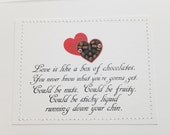 Suggestive funny love Valentine card. Love is like a box of chocolates.