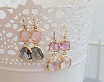 Gold Glass Double Drop Earrings